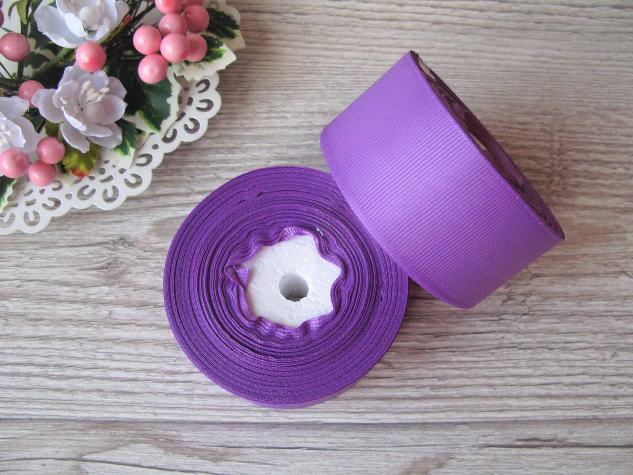 Лента репсовая 4 см ярко светло фиолетовый, бобина 18 м - 51 грн