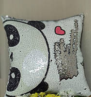 Подушка с пайетками с фото