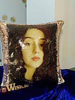 Подушка с пайетками с Вашим фото