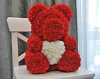 Мишка из роз 40 см красный с сердцем! + Подарочная коробка