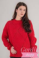 Теплый женский свитер крупной вязки ромбы