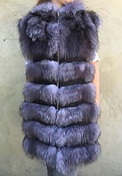 Длинный жилет из натурального меха чернобурки, фото 1