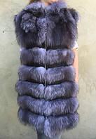 Длинный жилет из натурального меха чернобурки