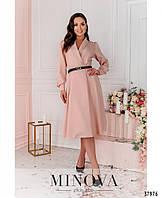 Стильное женское платье-пальто в 3-х цветах большого размера с 50 по 56