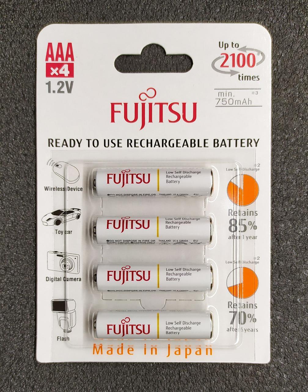 Fujitsu AAA аккумулятор Ni-MH 750 mAh с низким саморазрядом. Полный аналог Eneloop. HR-4UTCEU (4B)