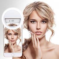 Светодиодное селфи кольцо Selfie Ring Light от батареек ААА (2 шт) ГОЛУБОЙ