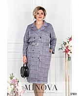 Стильное женское платье-пальто большого размера в клеточку в 3-х вариантах с 50 по 68 размер
