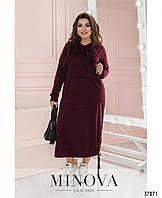 Модное женское тёплое длинное платье бордового цвета с 50 по 64 размер