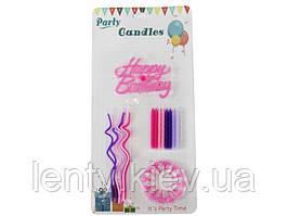 """Набір Свічки для торта """"HAPPY BIRTHDAY"""". (Рожево-фіолетові) 24 шт"""