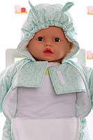 Демисезонный комбинезон для новорожденного (0-6 месяцев) Мятный горошек, фото 2
