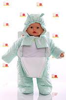 Демисезонный комбинезон для новорожденного (0-6 месяцев) Мятный горошек, фото 3