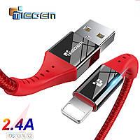 Кабель быстрой зарядки 2.4A USB - Lightning Tiegem Red & Black, 1 метр