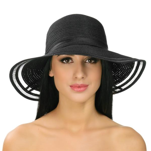 Річна крислатий капелюх по краю поля прозорі колір чорний
