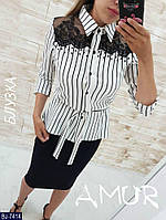 Женская стильная блузка с кружевом, фото 1