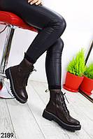 Демисезонные женские ботинки ЭкоКожа коричневые