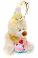 """Мишка """"Happy birhday"""" с тортом поёт танцует белый, розовый, фото 1"""