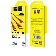 Кабель Hoco X26 Xpress one pull three charging cable,lightning+Micro+Type-c Red, фото 2