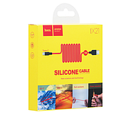 Кабель Hoco X21 Silicone one pull three charging cable Lightning+micro+type-c Black&Red, фото 2