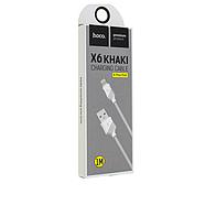 Кабель Hoco X6 khaki Lightning charging cable White, фото 2
