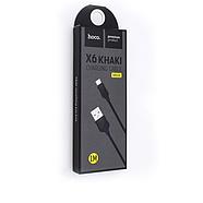 Кабель Hoco X6 khaki Micro charging cable Black, фото 2