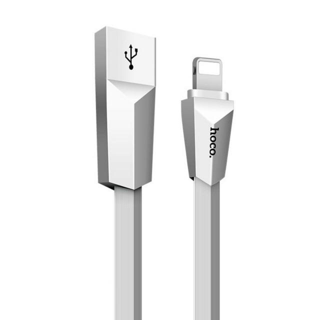 Кабель Hoco X4 Zinc Alloy rhombus Lightning Charging Cable White