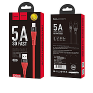 Кабель Hoco U53 4A Flash charging data cable for Type-C Red, фото 2