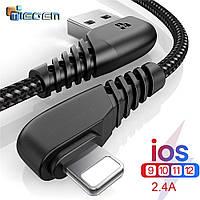 Кабель быстрой зарядки угловой 90 градусов USB - Lightning Tiegem Black, 1 метр