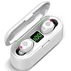 Беспроводные сенсорные наушники гарнитура в кейсе с павербанком с микрофоном Amoi F9-touch Bluetooth Белые - Фото