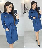 Женское модное платье норма и батал синий.