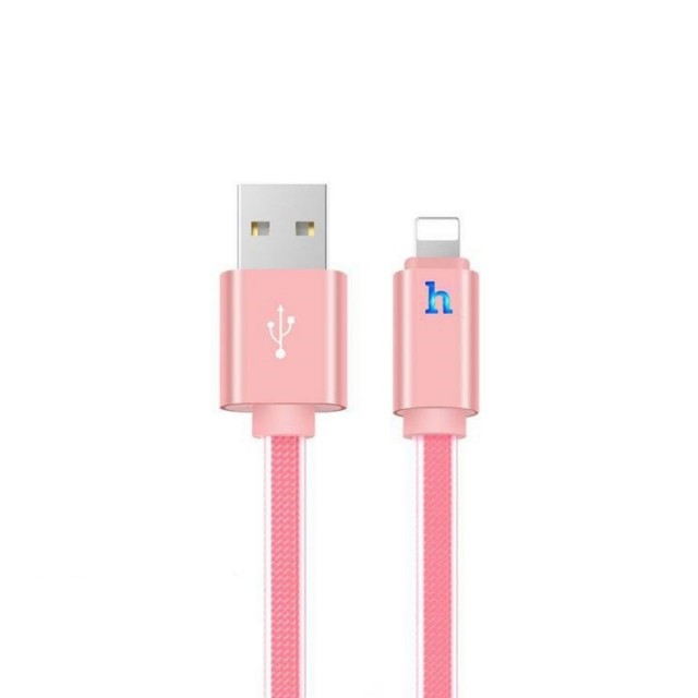 Кабель Hoco UPL12 Metal Jelly Knitted Lightning Charging Cable (Smart Light)(L-1.2) Rose gold