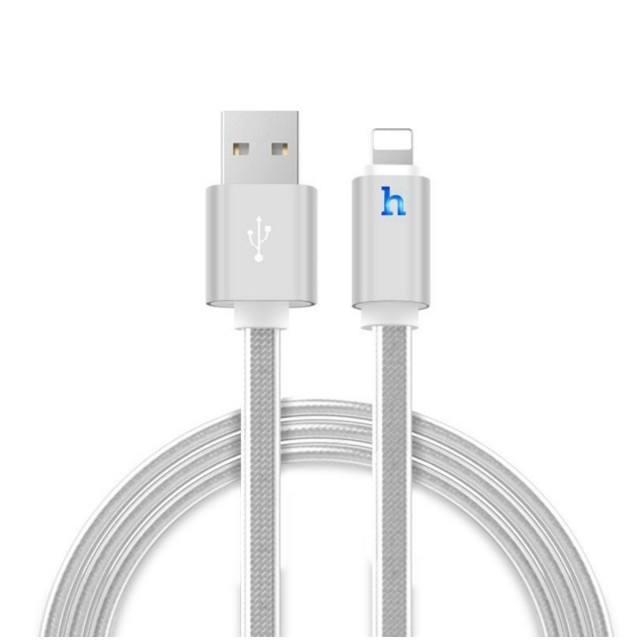 Кабель Hoco UPL12 Metal Jelly Knitted Lightning Charging Cable (Smart Light)(L-2) Silver