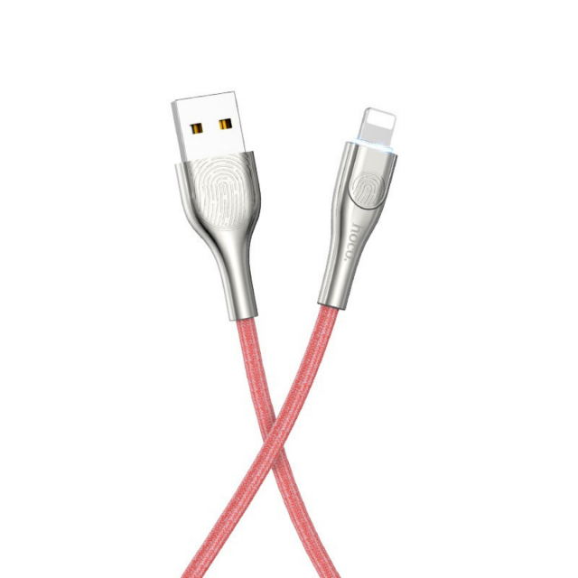 Кабель Hoco U59 Enlightenment charging data cable for Lightning Red