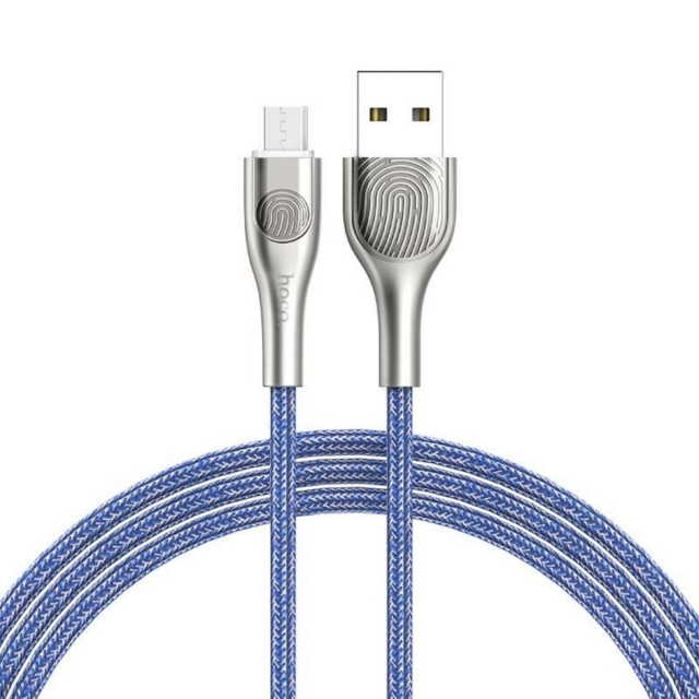 Кабель Hoco U59 Enlightenment charging data cable for Micro Blue