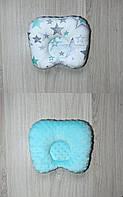 Двухсторонняя ортопедическая подушечка плюш/хлопок для новорождённого