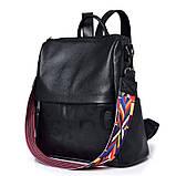 Рюкзак сумка міський жіночий шкіряний. Рюкзак трансформер з натуральної шкіри (чорний), фото 2