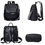Рюкзак сумка міський жіночий шкіряний. Рюкзак трансформер з натуральної шкіри (чорний), фото 3