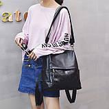 Рюкзак сумка міський жіночий шкіряний. Рюкзак трансформер з натуральної шкіри (чорний), фото 5