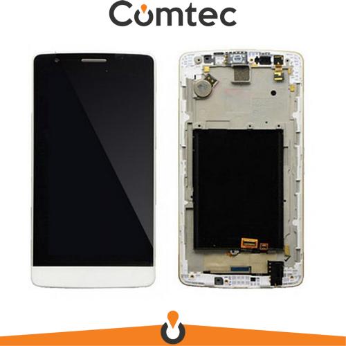 Дисплей для LG D724 G3s Dual Sim с тачскрином (Модуль) белый, с передней панелью (рамкой), оригинал