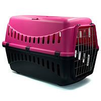 Переноска для котів і собак, велика, Gipsy, MP Bergamo, 58х38х38 см, метал, рожевий