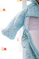 Демисезонный комбинезон для новорожденного (0-6 месяцев) Голубые пуговички, фото 2