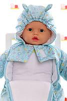 Демисезонный комбинезон для новорожденного (0-6 месяцев) Голубые пуговички, фото 3