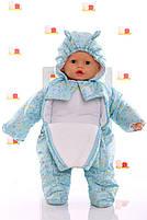 Демисезонный комбинезон для новорожденного (0-6 месяцев) Голубые пуговички, фото 4