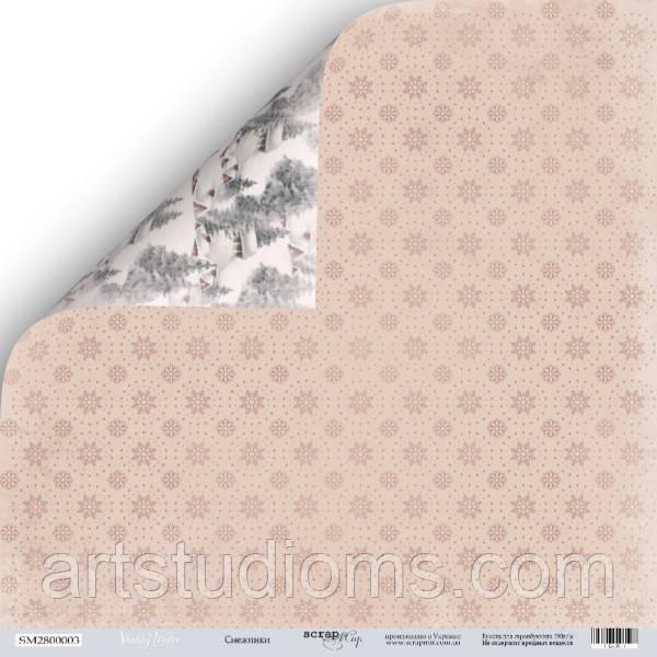 Лист двусторонней бумаги 30x30 от Scrapmir Снежинки из коллекции Shabby Winter