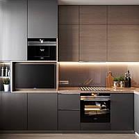Кухня на заказ с деревянным декором  в стиле минимализм  Blum furniture
