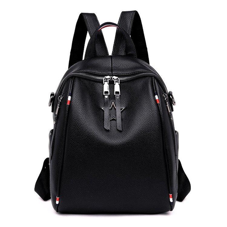 Рюкзак сумка міський жіночий стильний з екошкіри Зірка. Сумка трансформер (чорний)