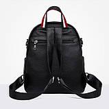 Рюкзак сумка міський жіночий стильний з екошкіри Зірка. Сумка трансформер (чорний), фото 5