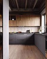 Кухня на заказ фасад дсп Италия + серая матовая покраска Blum furniture, фото 1