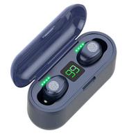 Беспроводные сенсорные наушники гарнитура в кейсе с павербанком с влагозащитой Amoi F9-touch Bluetooth Синие