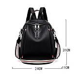 Рюкзак сумка міський жіночий стильний з екошкіри Зірка. Сумка трансформер (чорний), фото 7