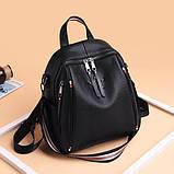 Рюкзак сумка міський жіночий стильний з екошкіри Зірка. Сумка трансформер (чорний), фото 2